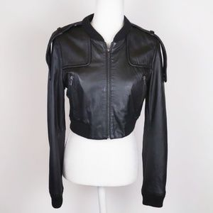 BCBG Maxazria Leather Cropped Bomber Jacket S